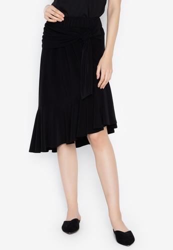 N Natori black Solid Poly Span Skirt 25865AA4D18BF7GS_1