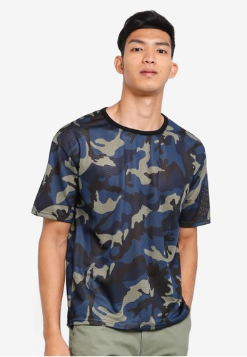 Sparrow Green blue and navy Chester Oversize Camo Mesh Tee 9EA2FAABCE5D45GS_1