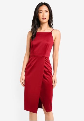 ZALORA red Wrap Skirt Pencil Dress 29F6FAABBB4124GS_1