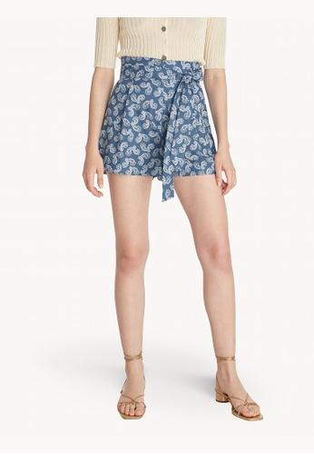 Pomelo blue High Waist Paisley Tied Shorts - Navy 9CBDEAAAA257CBGS_1