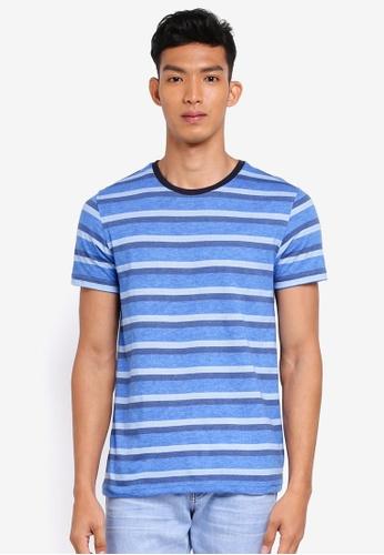 UniqTee 藍色 短袖條紋T恤 597FDAAD04FC0BGS_1