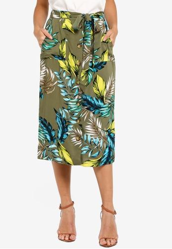 d584d0c9667bef Buy Dorothy Perkins Khaki Floral Midi Skirt Online | ZALORA Malaysia
