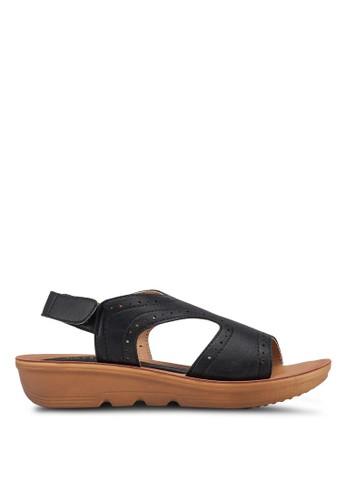 Noveni black Perforated Velcro Sandals 9699DSHBBCE3EDGS_1