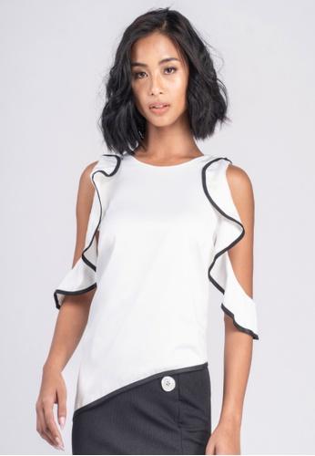 UNAROSA white Ruffles Cold-Shoulder Top With Contrast Binding Detail E1BAFAADD1EA39GS_1