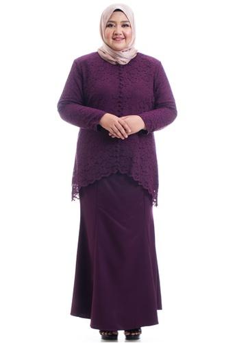 Ashura purple Keesha Kurung With Back Fish Tail Plus Size EA532AA7124693GS_1