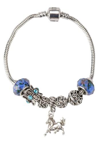 馬吊墜藍天海洋手鐲,zalora 鞋評價 飾品配件, 手鐲 & 手環