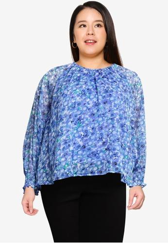 Vero Moda blue Plus Size Dicte Long Sleeve Top 89429AAFA836D3GS_1