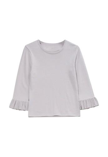 KLAPS 灰色 荷葉邊袖純色針織毛衣 88021AA4E5E10EGS_1