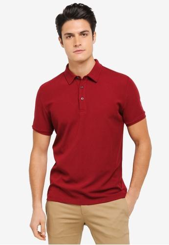 ZALORA red Contrast Button Stitch Rib Polo Shirt A4276AA241336AGS_1