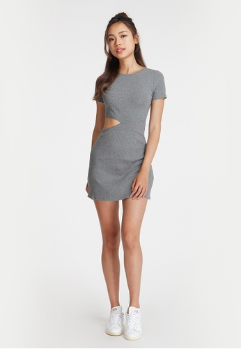 6IXTY8IGHT grey FRAME, Cutout Waist Fit and Flare Dress DS08978 BC9A6AAC2FEBAFGS_1