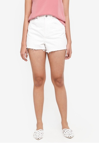 TOPSHOP white Mom Authentic High Rise Shorts BC983AA071FAFFGS_1