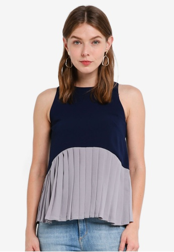 MDSCollections navy Pleated Two-Tone In Navy 01ED7AABE87755GS_1