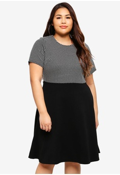 03ba901a259 Dorothy Perkins black Plus Size Spot Jacquard 2 In 1 70567AA65CD0E2GS 1