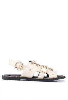 4d9f2f2603 River Island beige Fort - Hardware Flat Sandals 14294SHED30F7BGS_1