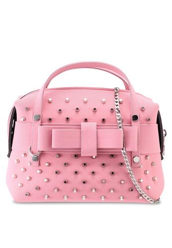 La Fille Des Fleurs pink Sonia Studded Crossbody Bag 47B81AC868E85CGS_1
