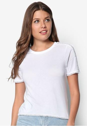 薄紗肩飾zalora 衣服尺寸短袖TEE, 服飾, 服飾