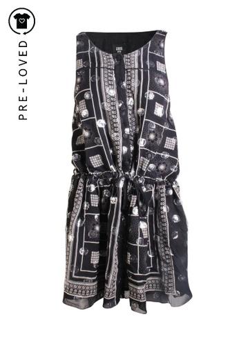 Anna Sui 黑色 二手 anna sui 銀色印花鈕扣連衣裙 23EB8AA332FE8CGS_1
