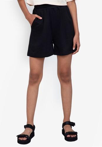 ZALORA BASICS black Sweat Shorts 04F6EAA12928E3GS_1