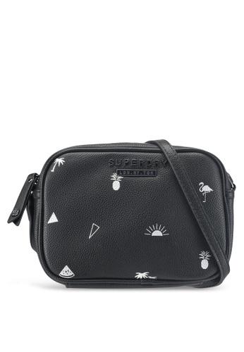Superdry black Delwen Micro Print Crossbody Bag 37900AC1659194GS_1