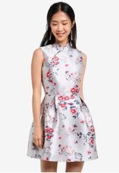 ZALORA blue Mandarin Collar Fit & Flare Dress 3174DAA3D25255GS_1