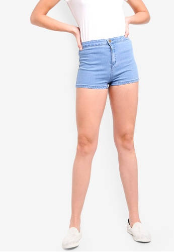 ZALORA BASICS blue Basic High Waisted Denim Shorts 90888AABF6184BGS_1