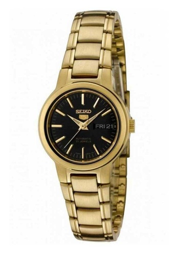 Seiko gold Seiko 5 Black and Gold Stainless Steel Watch 0973FACE2265A6GS_1