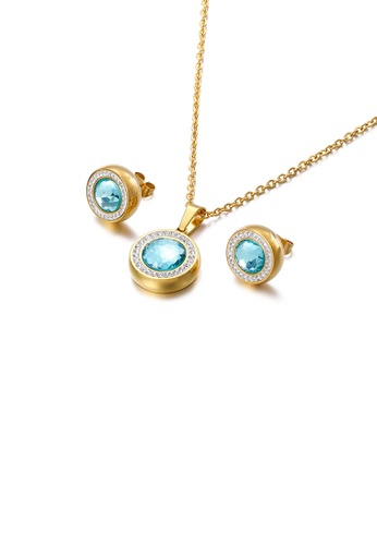 Glamorousky white Fashion and Simple Plated Gold Geometric Round 316L Stainless Steel Necklace and Stud Earrings Set with Light Blue Cubic Zirconia 95B34AC051E4E7GS_1