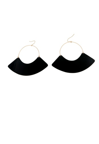 Mellow black Fan Shape Retro Earrings CD30AAC7D45914GS_1
