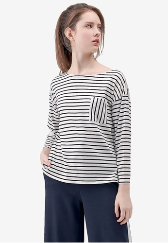 Kodz white Striped Boatneck Pullover E3CEAAAF7FBBB8GS_1