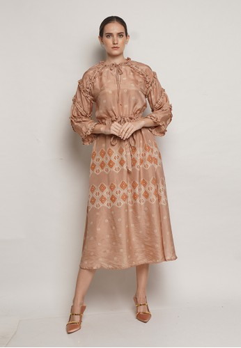 Tieka Huza brown Dress Hanaya Silk TH 76B68AA01402E4GS_1