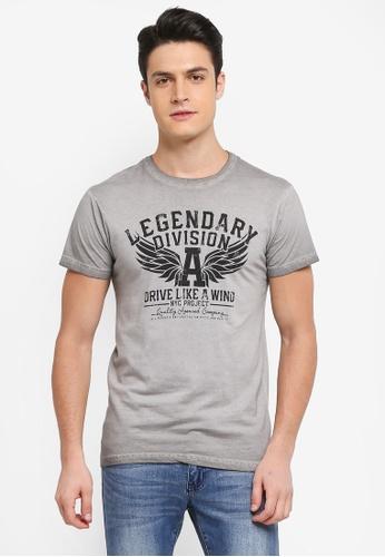 Indicode Jeans 灰色 短袖圖案印花T恤 CC729AA4264988GS_1