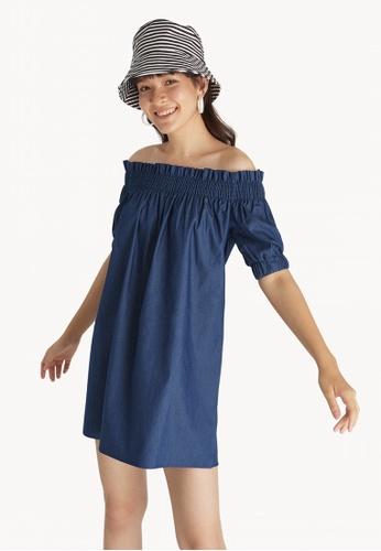 8b5560cf70597 Buy Pomelo Off Shoulder Puff Sleeve Dress - Navy Online on ZALORA ...
