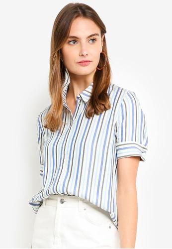 ESPRIT blue Woven Short Sleeve Shirt 7FF0AAAAFF92E8GS_1
