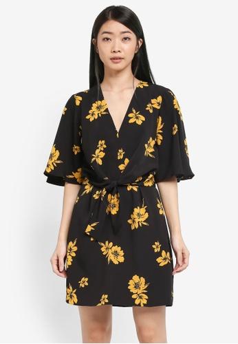 Miss Selfridge black Floral Tie Front Mini Dress 8A3B4AA3008CE2GS_1