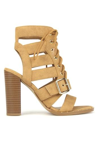 Betts brown Respect Lace Up Block Heels 35807SHBAA08B8GS_1