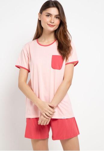Puppy pink Pyjama Pijama Short Sleeve Short Pants Sleepwear 8DE00AA49B3121GS_1