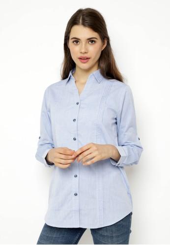 novel.mice blue Pintucked Long Shirt A98FEAA597C649GS_1