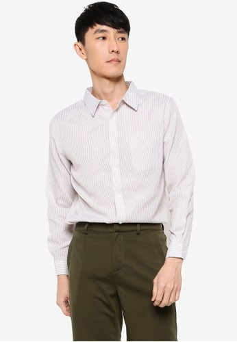 ZALORA BASICS white and beige Regular Button Down Stripe Oxford Shirt A4A4AAA74C538DGS_1