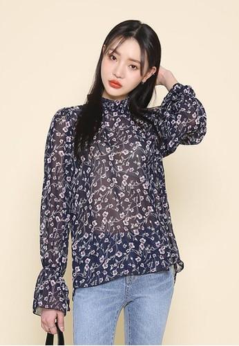 褶esprit台灣網頁邊領口印花襯衣, 服飾, 上衣