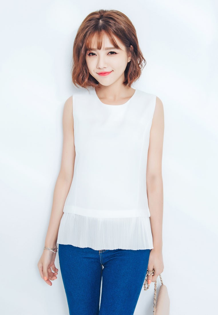 Sleeveless Top with Hem Detail and Back Zip