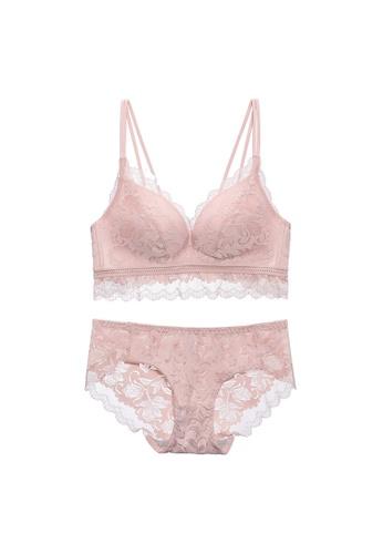Midnight 米褐色 Premium Lace Beige Lingerie Set (Bra and Underwear) BDBD9US2CB30E8GS_1