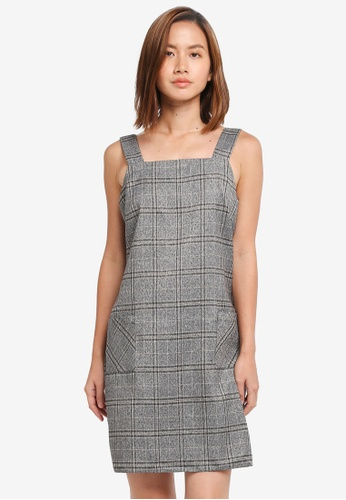 Dorothy Perkins grey Grey Check Pinafore Dress 91D7CAA0BA51BCGS_1