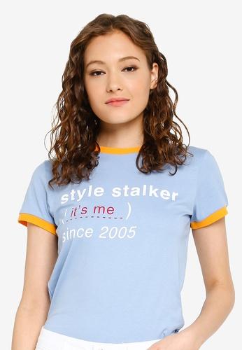 LC Waikiki 藍色 Short-袖 Crew-Neck Letterpress T-襯衫 9326FAA0DF87EDGS_1