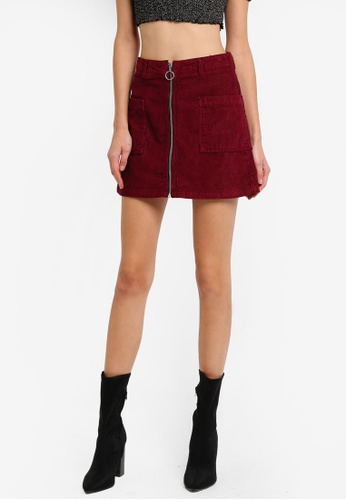 TOPSHOP red MOTO Zip Through Corduroy Skirt TO412AA0SLCJMY_1