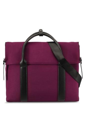 ZALORA black and red Zippered Flap Work Bag 05BB6AC374C079GS_1