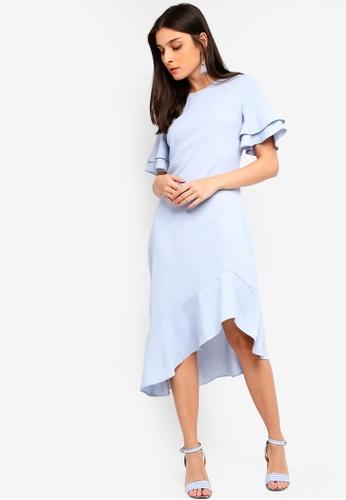 ZALORA blue Asymmetric Hem Midi Dress 73F50AA02ED4FAGS_1