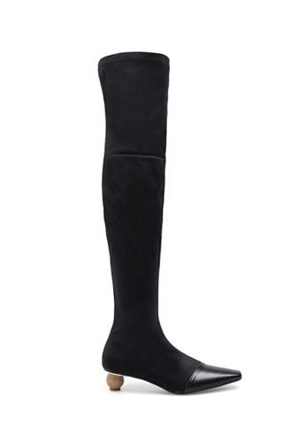 Twenty Eight Shoes black Skinny Over Knee Elastic Fabric Long Boots 4368 D509ESH1B8FE20GS_1