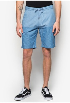 Mixed Denim Drawstring Shorts