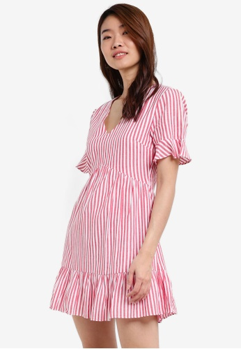 ZALORA red Printed Fit & Flare Dress C7725AAD54DC68GS_1