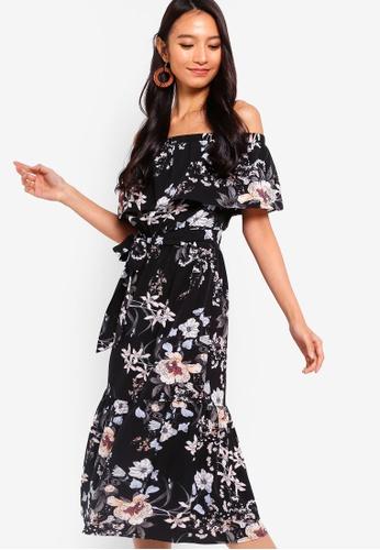 ZALORA black and multi Off Shoulder Midi Dress 6ECD3AA13D561EGS_1